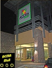 front view of the Accra Mall (night view)