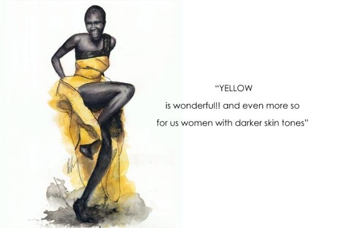 Alek-Wek-Yellow-Dress-Benjamin-Edward-fashion illustration1