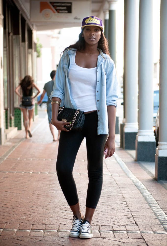 Denim leather street style report south africa that random chic African fashion street style